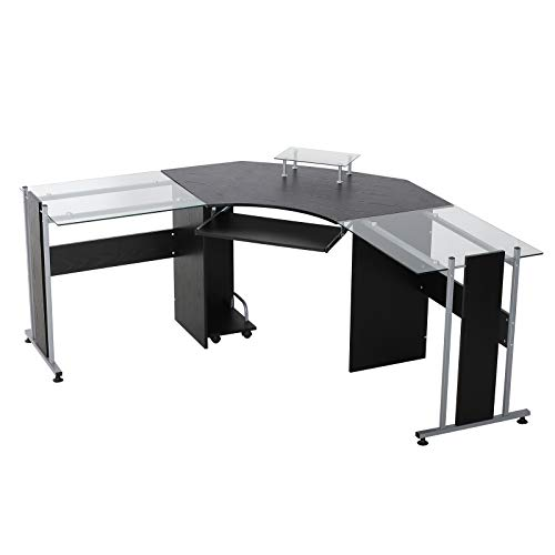 HOMCOM L-Shaped Corner Computer Desk Gaming Table Home Office Workstation Glass Top P2 MDF with...