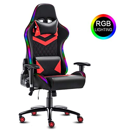 Modern-Depo High-Back Ergonomic Gaming Chair with RGB LED Lights, Headrest, Lumbar Support, Height...