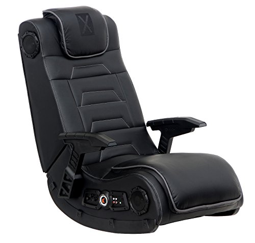 X Rocker Pro Series H3 Black Leather Vibrating Floor Gaming Chair