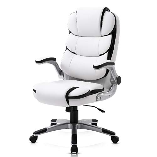 YAMASORO Leather Memory Foam White Office Chair