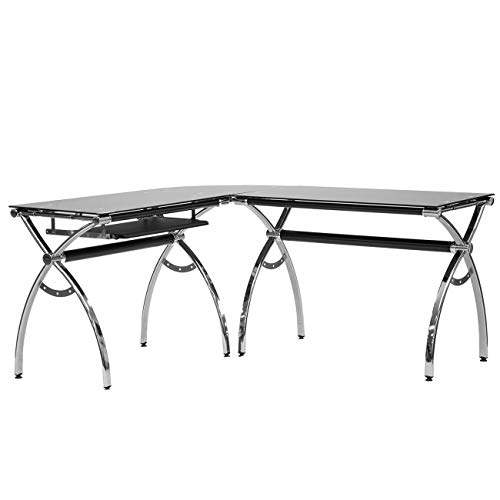 Techni Mobili L-Shaped Colored Tempered Glass Top Corner Desk With Pull Out Keyboard Tray, 61.25' W...