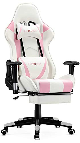 Ficmax Pink & White Massage Gaming Chair w/Footrest