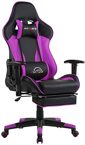 Acmate Purple Massage Gaming Chair w/Footrest