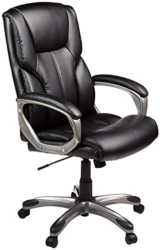 AmazonBasics High-Back Executive Swivel Office Computer Desk Chair - Black with Pewter Finish, BIFMA...