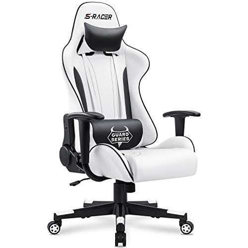 Homall High Back PU Leather Racing White Gaming Chair