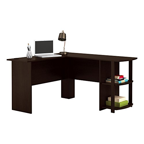 Office L-Shaped Desk with 2 Shelves is Compact and Affordable Easy to Assemble in Dark Cherry Finish...