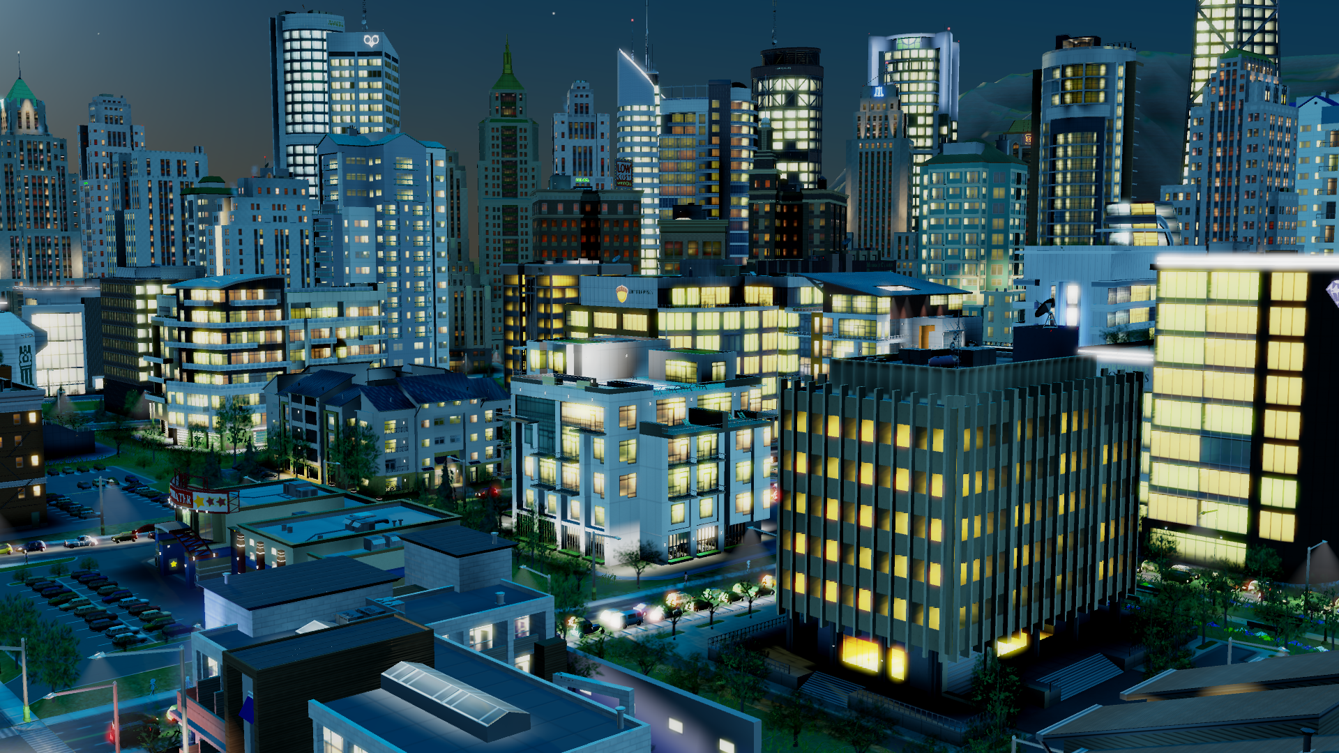 SimCity Nightime Skyline