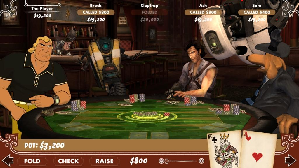 Brock Samson, Claptrap, Ash Williams, GLaDOS, and Sam come out to win new pairs of shoes in a game of poker.