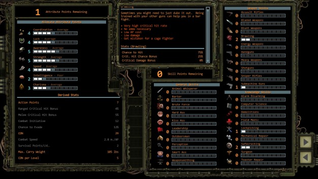 Wasteland 2 Character Creation