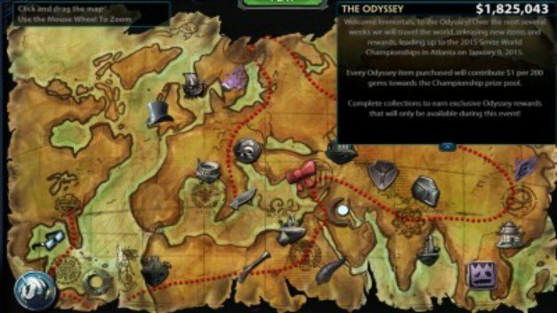 The Odyssey Map. Each point marks an unlocked (purchasable) item.