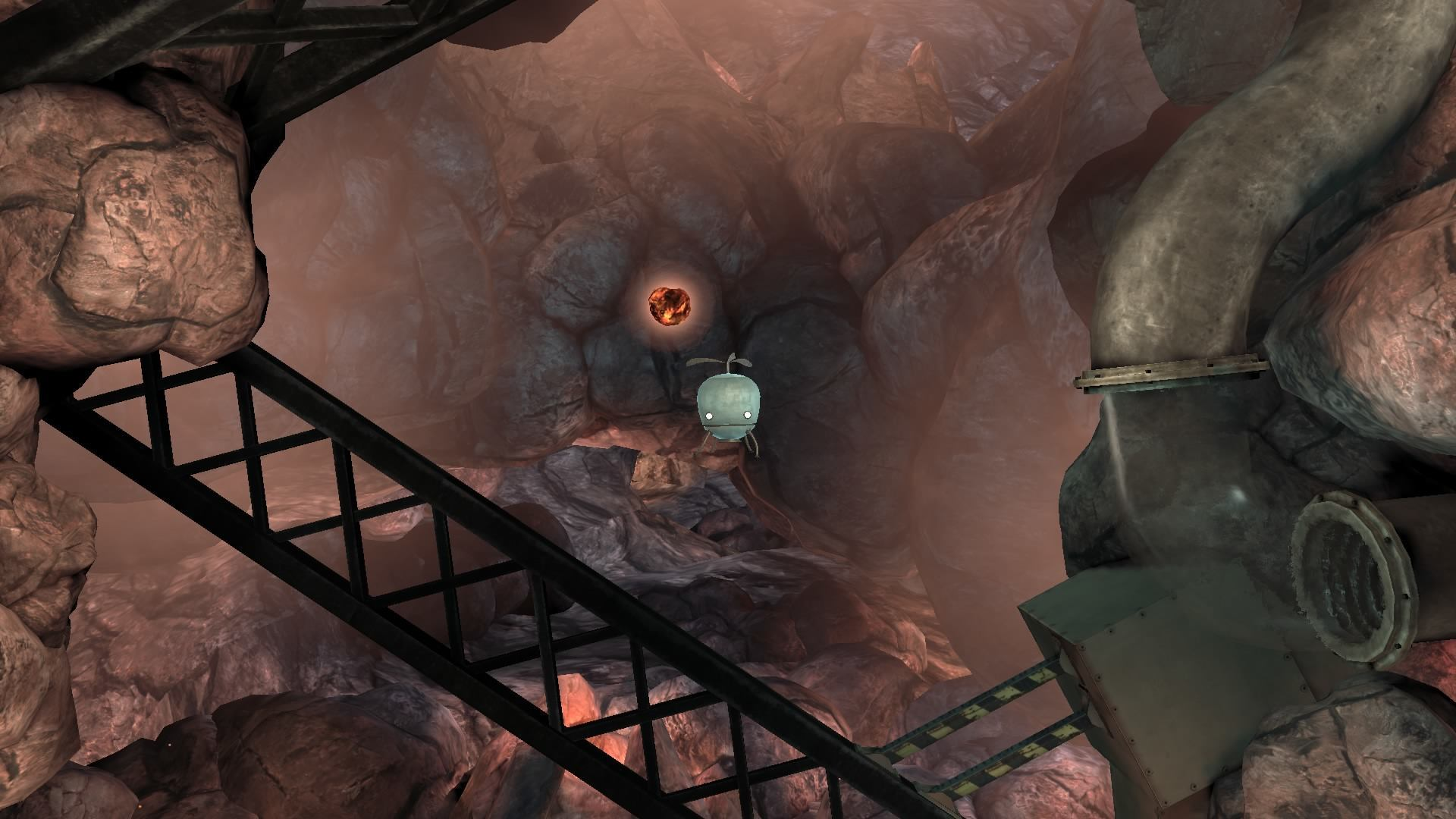 The little helicopter robot is stuck in a mechanical cave.