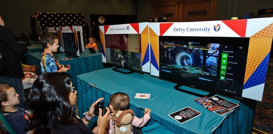 CHICAGO, IL - AUGUST 21:  The Devry Comic Con booth at Donald E. Stephens Convention Center on August 21, 2015 in Chicago, Illinois.  (Photo by Timothy Hiatt/Getty Images for Devry)