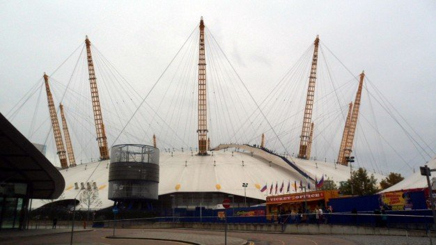 O2 arena (Not pictured: Pierce Brosnan rolling down the side