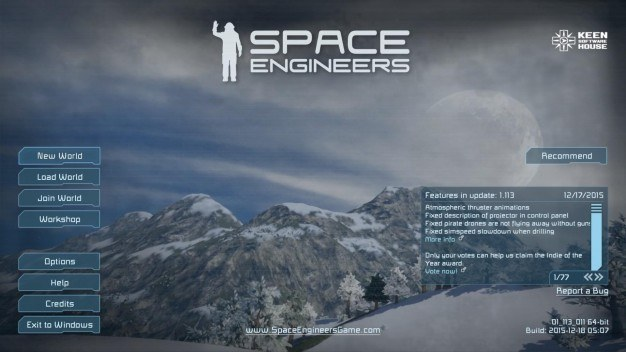 Space Engineers home screen