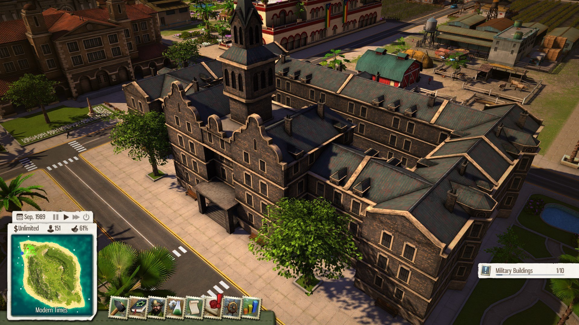 Gameplay screenshot of Tropico 5 showcasing gameplay from the modern times era