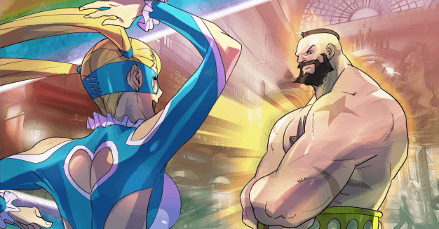 Zangief, trying hard not to stare at R. Mika's outfit