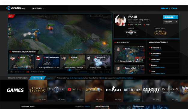 Live streaming screen on Azubu.tv