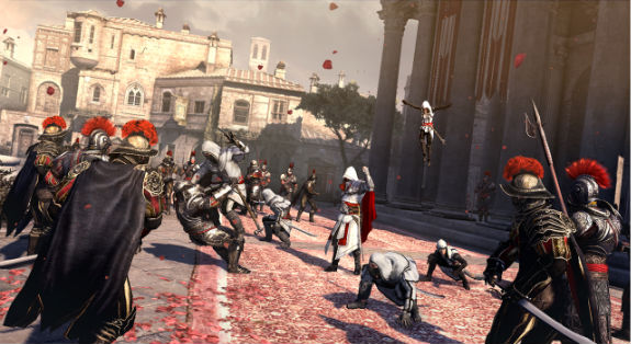 "Ezio Auditore da Firenze. In the gaming hall of fame for ""most ostentatiously dressed assassin."""