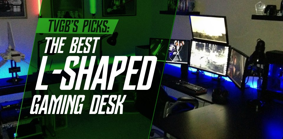 L-Shaped Gaming Desk with 3 Monitors