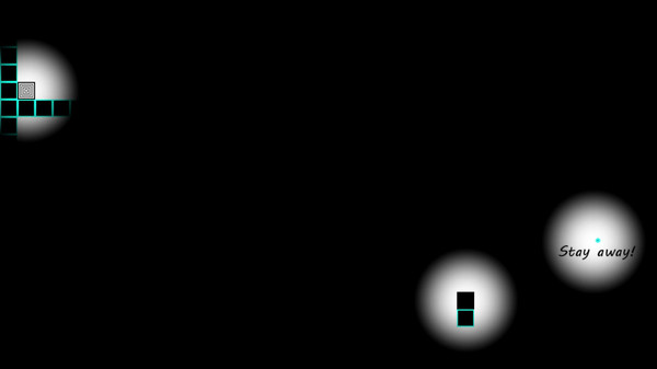 "A dark screen with only thee points of light- a black square, a white square, and text that says ""Stay Away"""