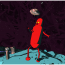 A Red Robot Stands on a Blue Planet, Looking at the Flying Saucer above his head