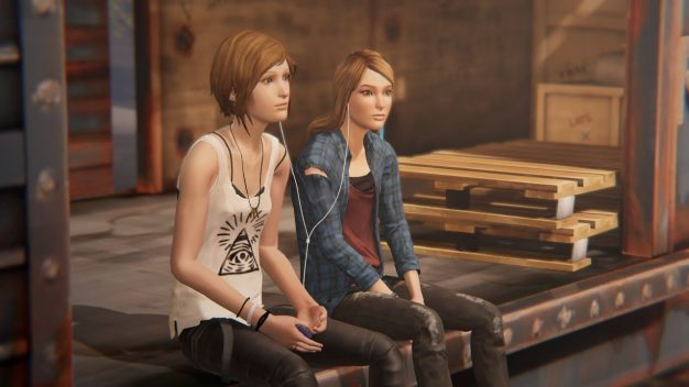 Rachel and Chloe on train in Life is Strange: Before the Storm