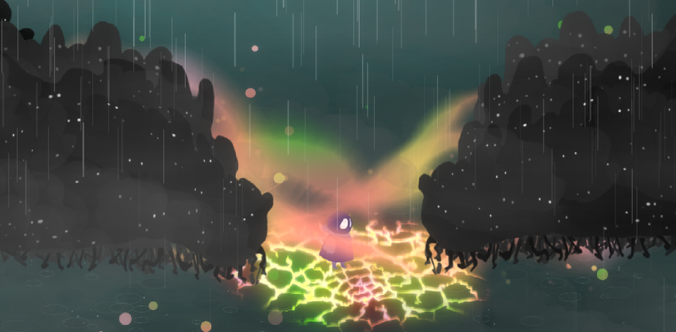 The small hero stands surrounded by crowds of shadowy enemies as a colorful wind encircles them, and the ground cracks and glows beneath them.