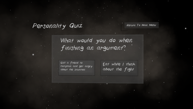 Personality Quiz: What would you do when finishing an argument? Option 1: Call a friend to complain and get angry about the situation Option 2: Eat while I think about the fight