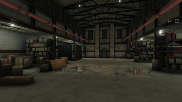 3D Environment showing a warehouse, possibly for a shipping company based on the piles of cardboard boxes with large white labels to the left. Strange symbols mark the far wall.