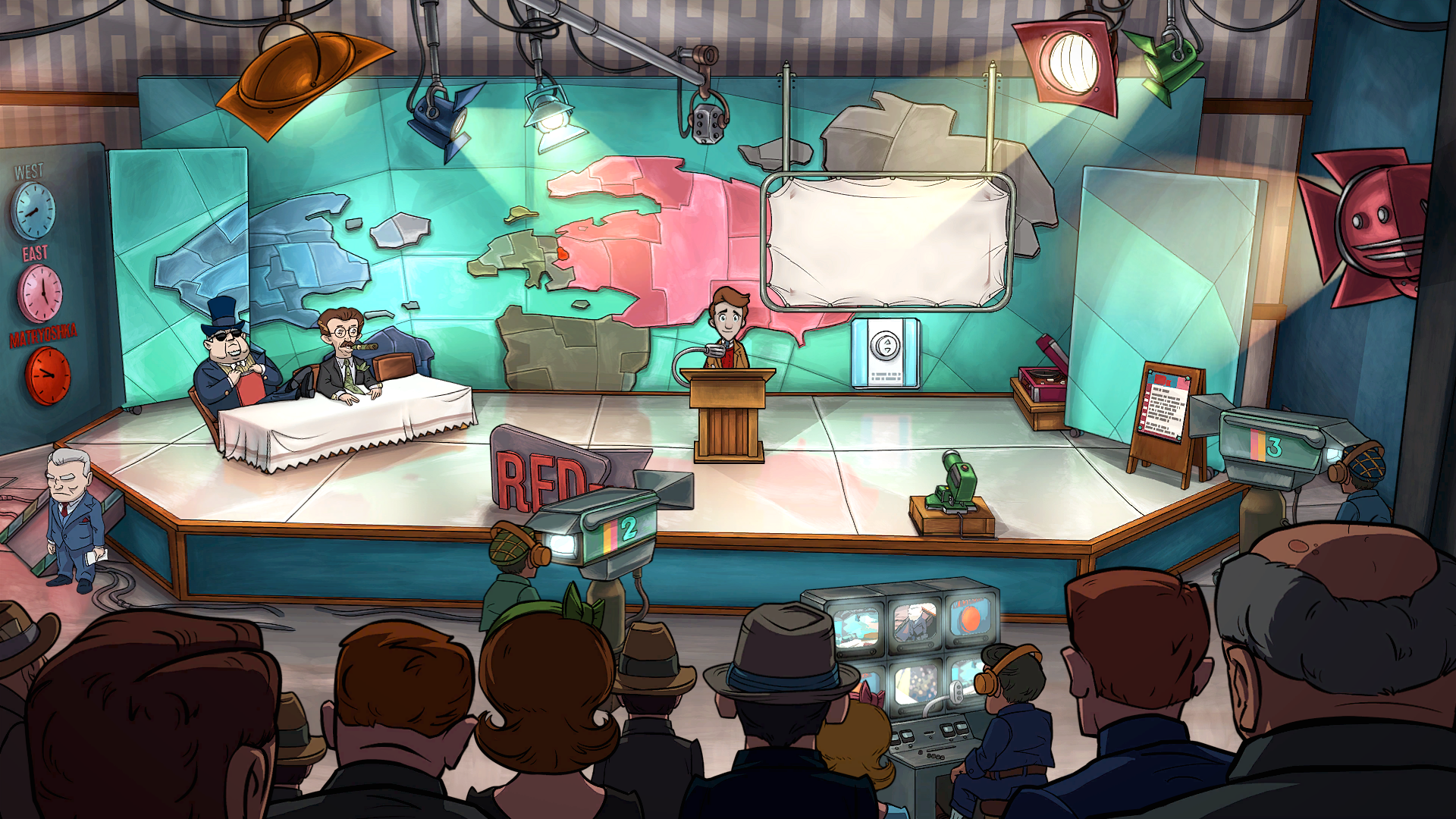 Screenshot of Evan in TV Studio in front of distorted world map