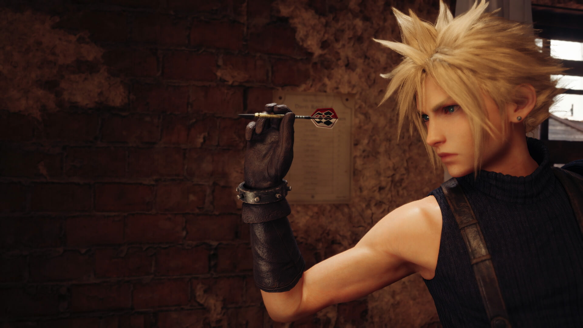 Final Fantasy VII Remake Cloud throwing darts