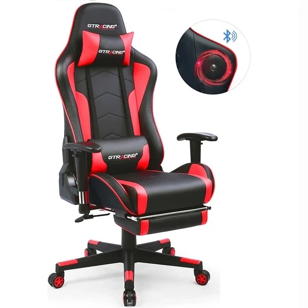 GTRACING Gaming Chair with Footrest and Bluetooth Speakers Music Video Game Chair【Patented...