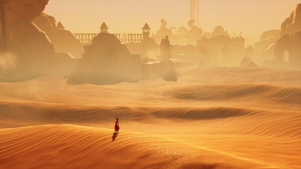 Woman stands in a desert staring at an ancient city