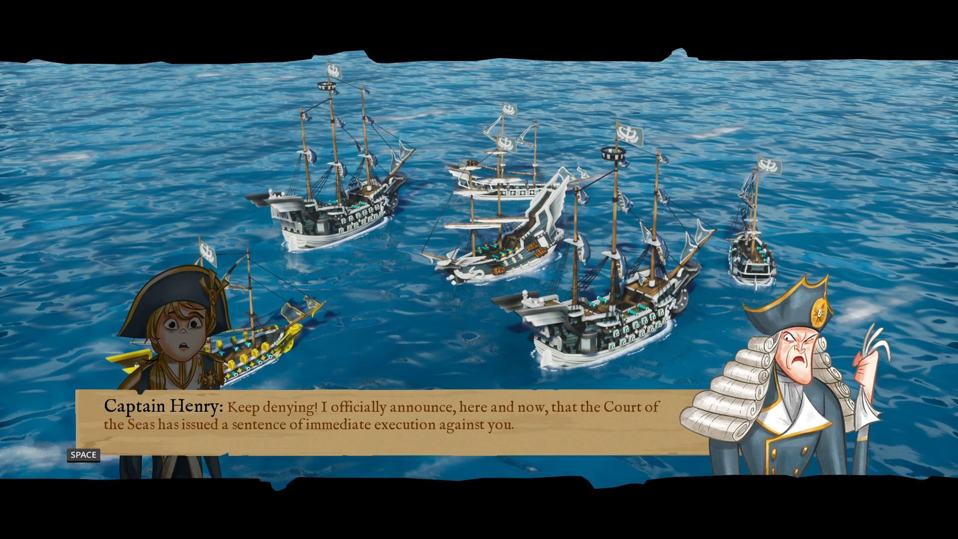 A group of ships are in the background as Captain Henry talks to Luky