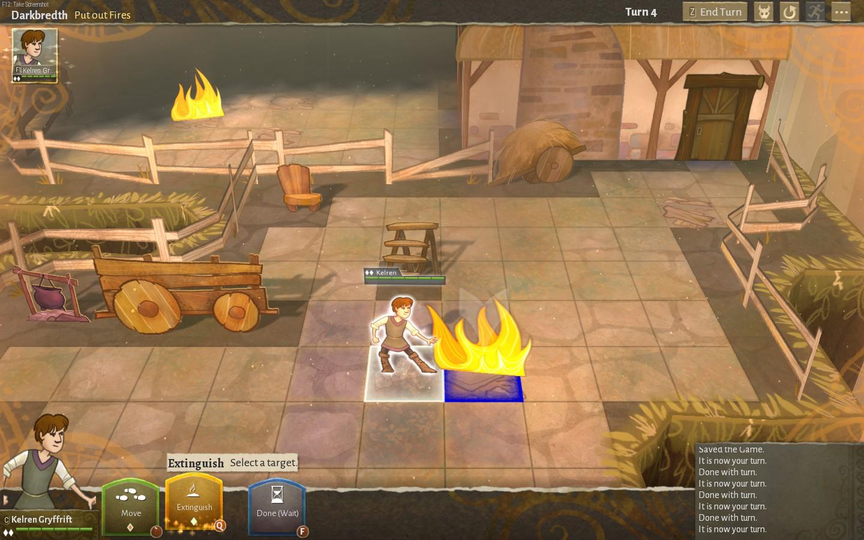 Kelren fights a fire